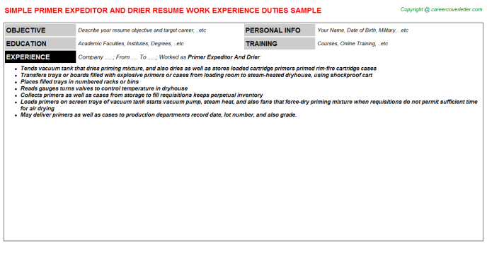primer expeditor and drier resume template