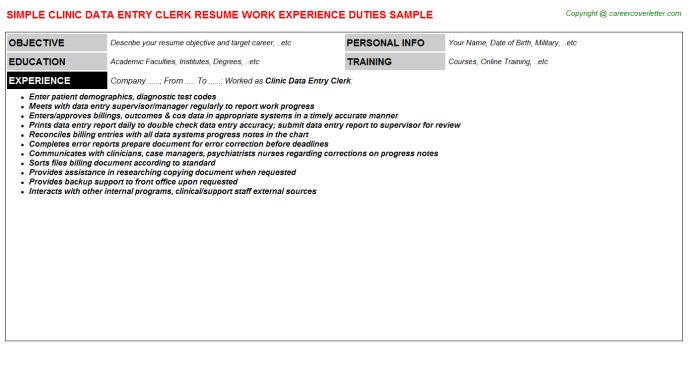 Clinic Data Entry Clerk Resume Template