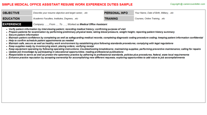 Medical Office Assistant Resume Sample Template