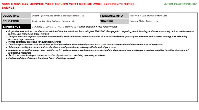 Nuclear Medicine Chief Technologist Resume Template