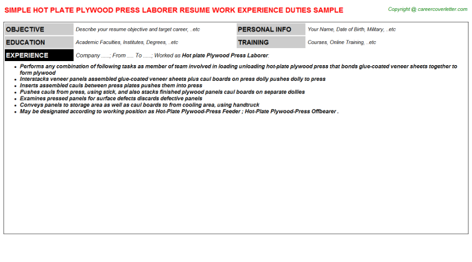 Hot Plate Plywood Press Laborer Resume Template