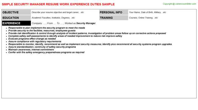 Security Manager Resume Template