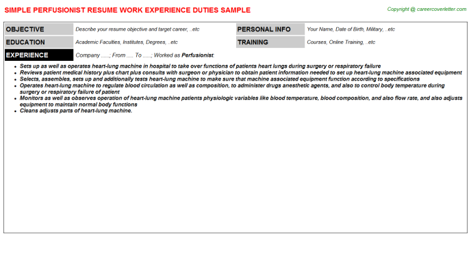 Perfusionist Resume Sample Template