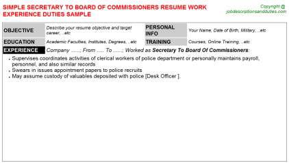 Secretary To Board Of Commissioners Job Resume Template