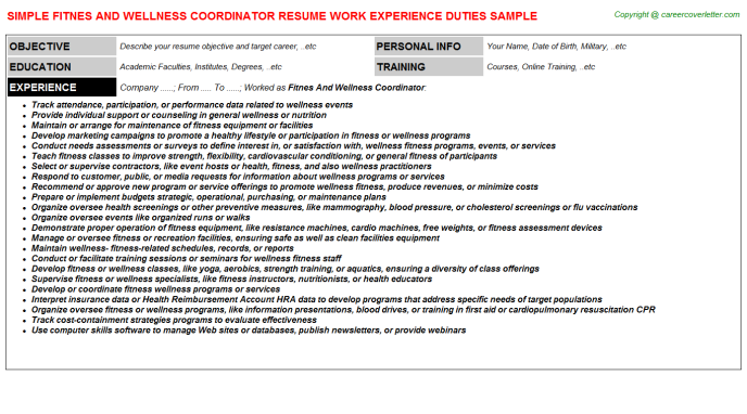 Fitnes And Wellness Coordinator CV Resume Example