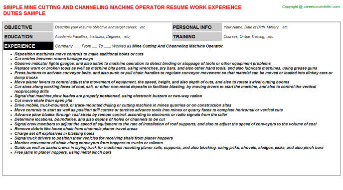 Mine Cutting And Channeling Machine Operator Resume Sample Template