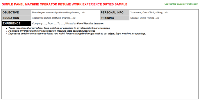 Panel machine Operator Resume Template