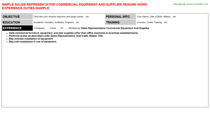 Sales Representative Commercial Equipment And Supplies Resume Template