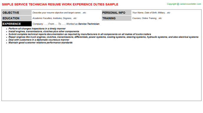 Service Technician Resume Sample Template
