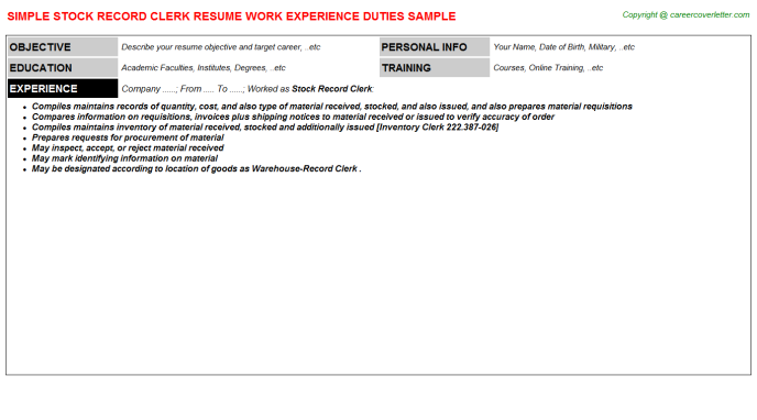 Stock Record Clerk Resume Template