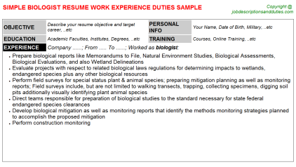 Biologist Job Resume Template