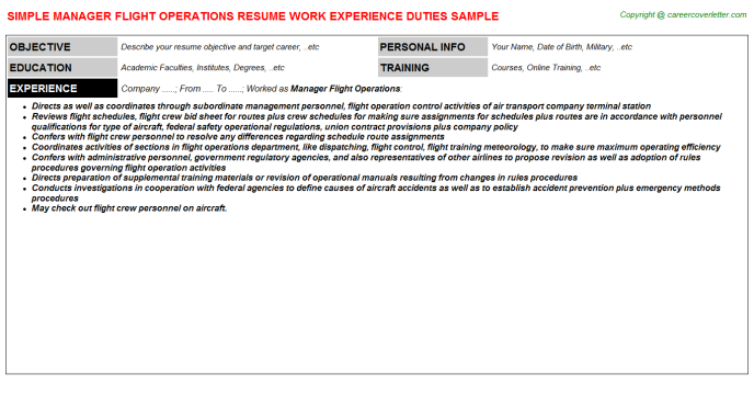 Manager Flight Operations Resume Template