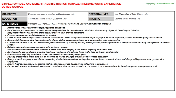 Payroll And Benefit Administration Manager Job Resume Template