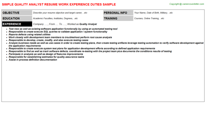 Quality Analyst Resume Template