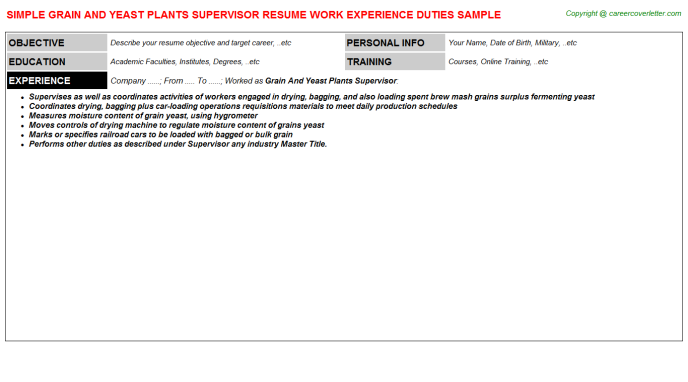grain and yeast plants supervisor resume template