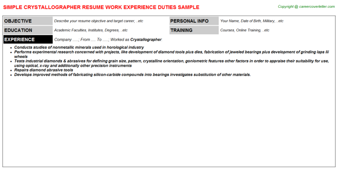 Crystallographer Job Resume Template