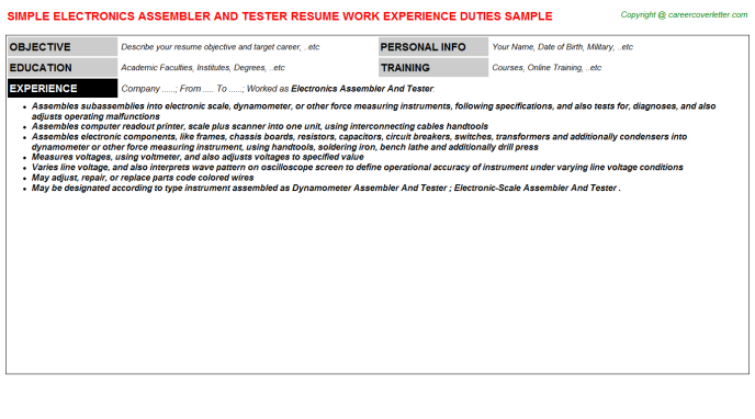 Electronics Assembler And Tester Resume Template