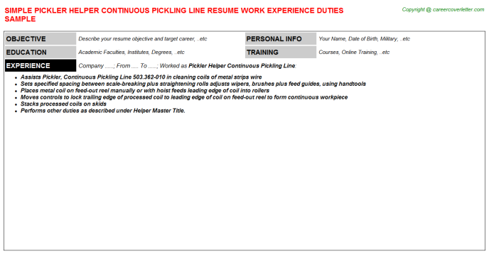 Pickler Helper Continuous Pickling Line Resume Template