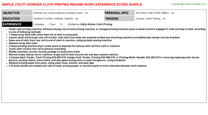 Utility Worker Cloth Printing Job Resume Template