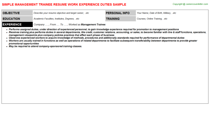Management Trainee Resume Sample Template
