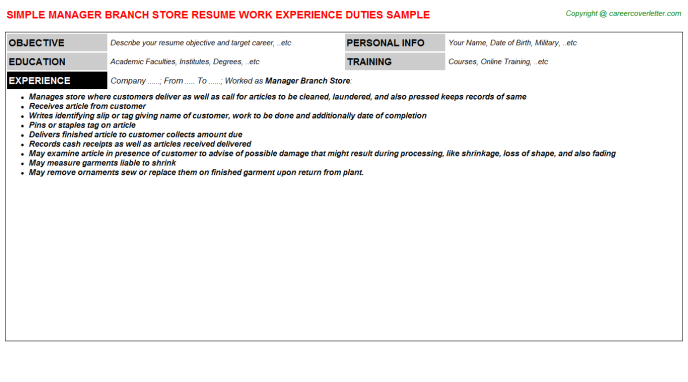 manager branch store resume template