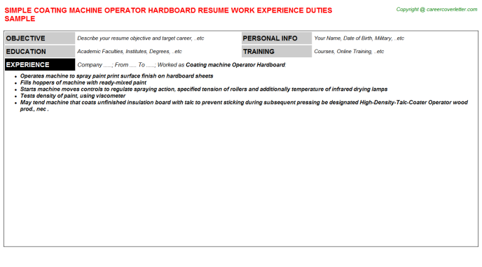 coating machine operator hardboard resume template