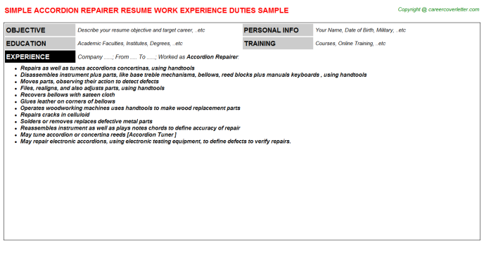 Accordion Repairer Job Resume Template