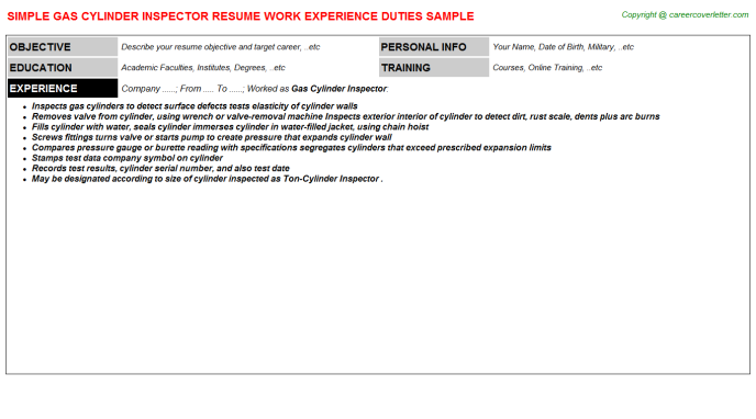 Gas cylinder Inspector Resume Template