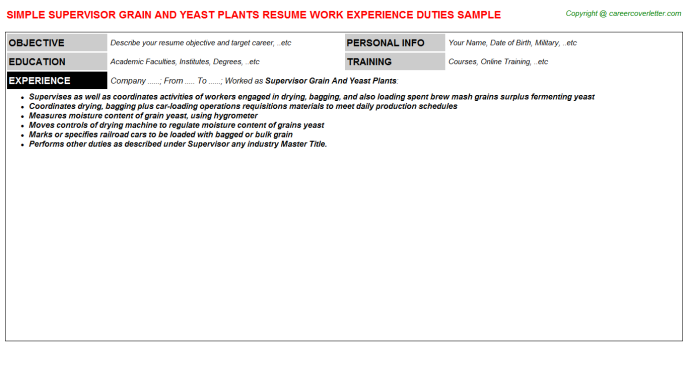 supervisor grain and yeast plants resume template