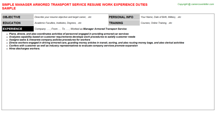 manager armored transport service resume template