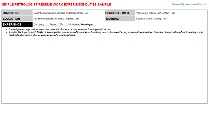 Petrologist Resume Sample Template