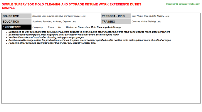 supervisor mold cleaning and storage resume sample