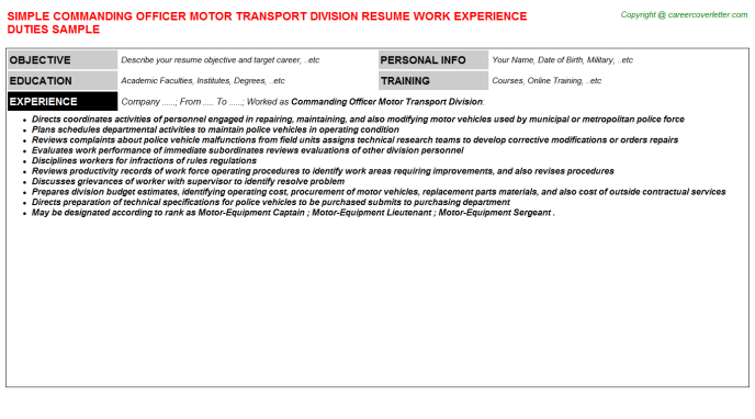 commanding officer motor transport division resume