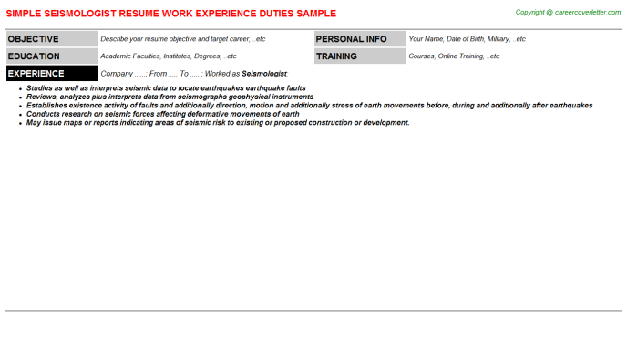 Seismologist Job Resume Template