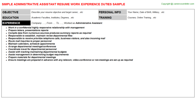 Administrative Assistant Job Resume Template