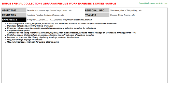 Special Collections Librarian Resume Template