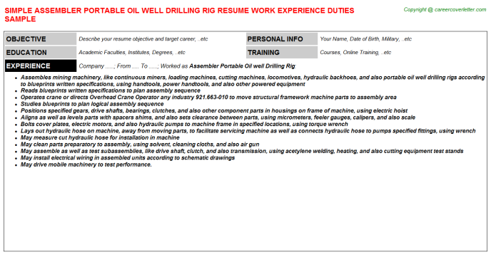 Assembler Portable Oil well Drilling Rig Resume Template