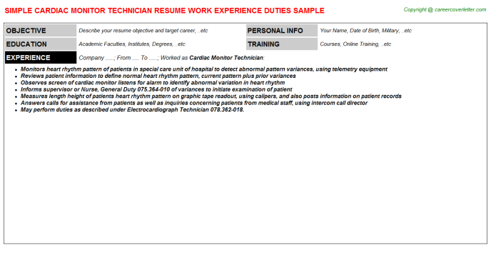 Cardiac Monitor Technician Job Resume Template