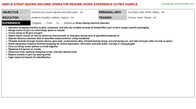 strap making machine operator resume template