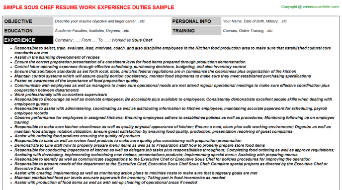 Sous Chef Resume Sample Template