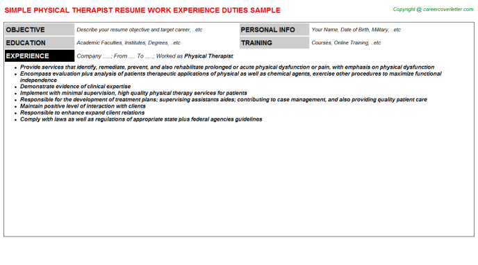 Physical Therapist Resume Sample Template