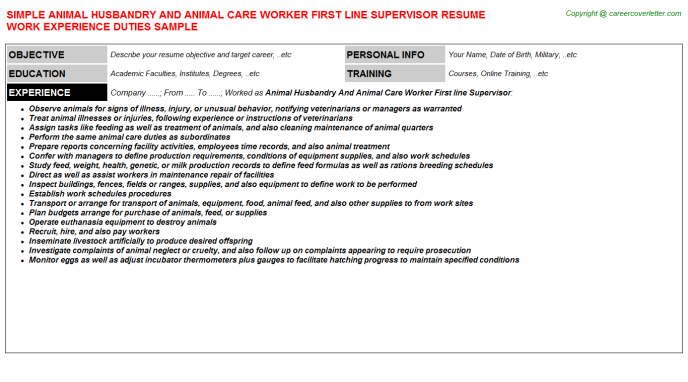 Animal Husbandry And Care Worker First Line Supervisor Job Resume Template