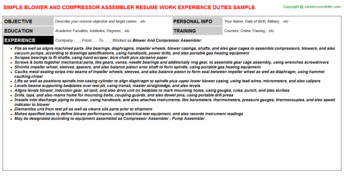 Blower And Compressor Assembler Resume Template