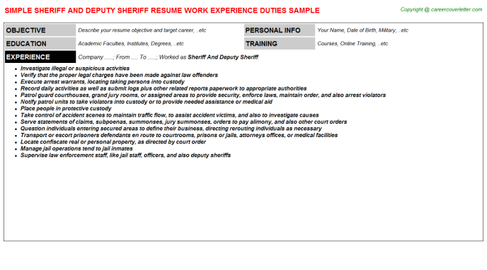 sheriff and deputy sheriff job resume sample