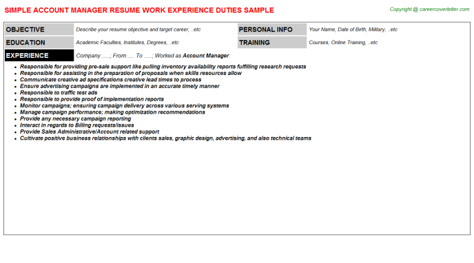Account Manager Job Resume Template