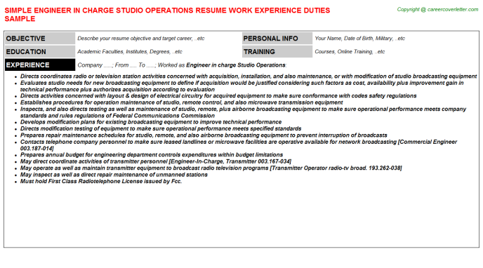 Engineer In Charge Studio Operations Resume Template