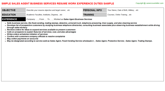 Sales Agent Business Services Resume Template