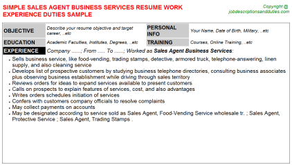 Sales Agent Business Services Job Resume Template