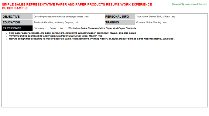 Sales Representative Paper And Paper Products Resume Template