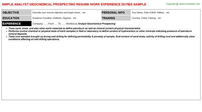 analyst geochemical prospecting resume template